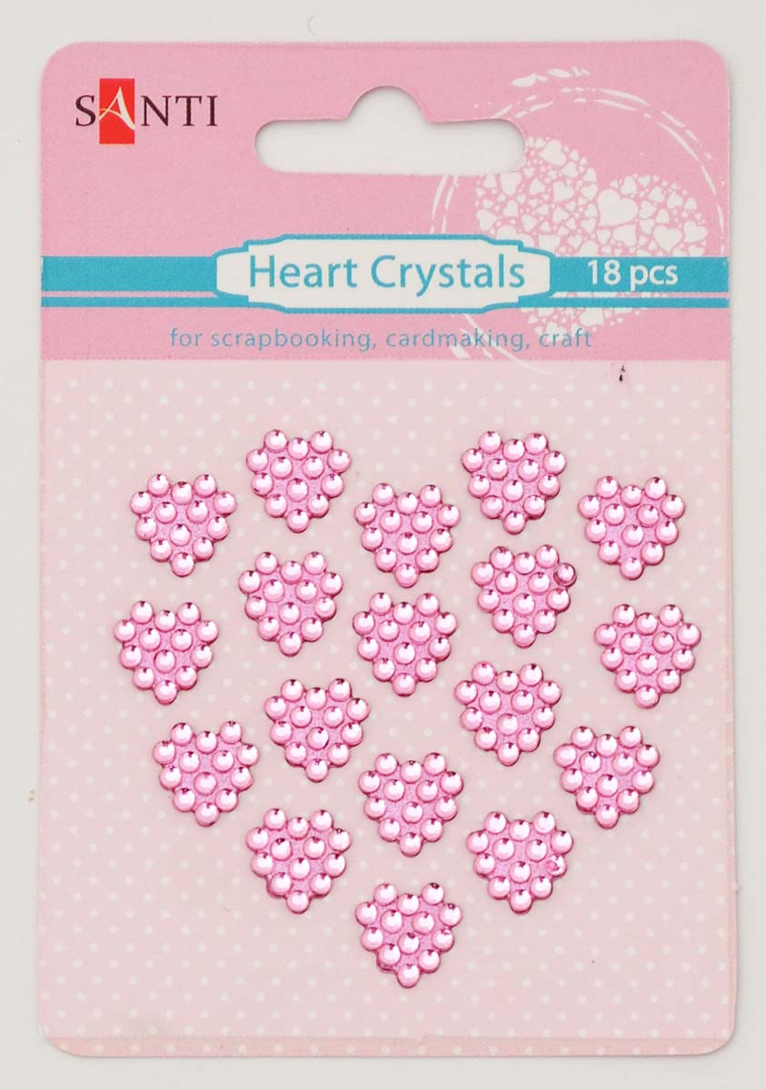 Набор кристалов SANTI самоклеющихся сердечки розовые, 18 шт