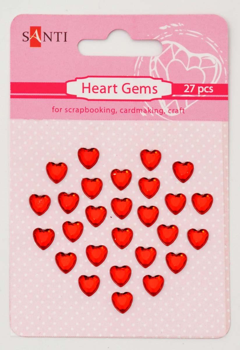 Набор страз SANTI самоклеющихся сердечки красные, 27 шт
