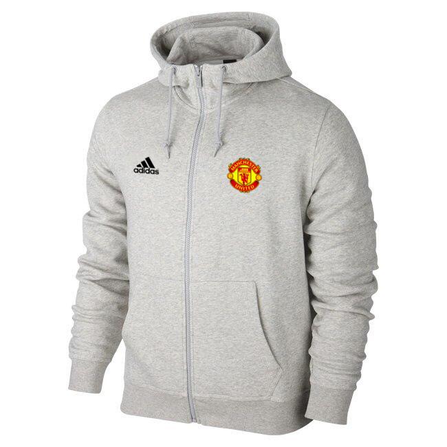 Мужская спортивная толстовка (кофта) Манчестер Юнайтед-Адидас, ManchesterUnited,Adidas, серая