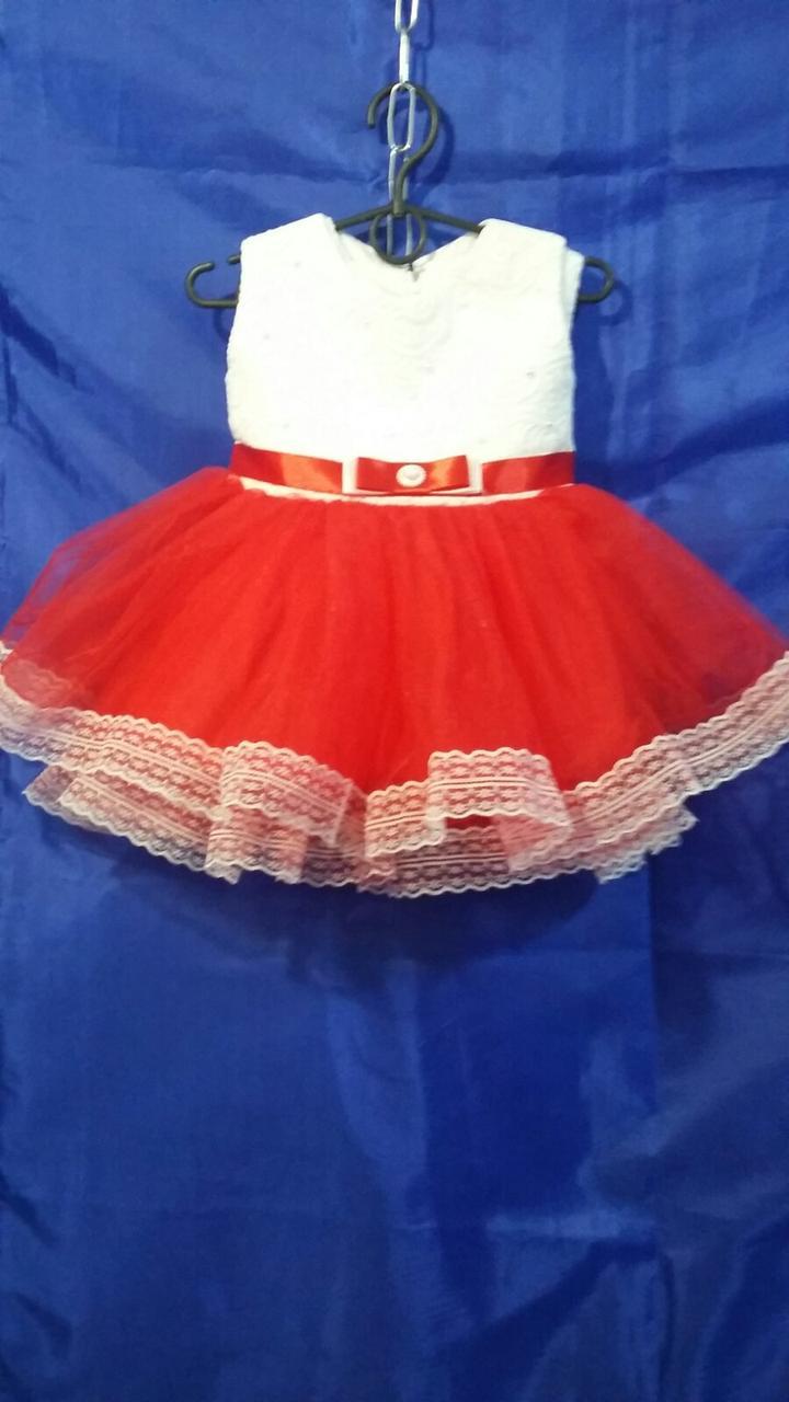 Детское платье для девочки с кружевом р. 1 годик опт белое+красное