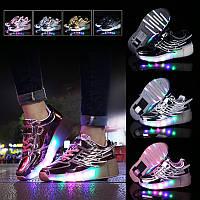 Роликовые кроссовки светящиеся Angel, в стиле Heelys. Черные, золото, серебро, розовые (N-00475)