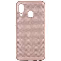 Ультратонкий дышащий чехол Grid case для Samsung Galaxy A40 (A405F) (Золотой) 707720