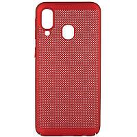 Ультратонкий дышащий чехол Grid case для Samsung Galaxy A40 (A405F) (Красный) 707721