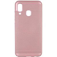 Ультратонкий дышащий чехол Grid case для Samsung Galaxy A40 (A405F) (Розовый) 707722