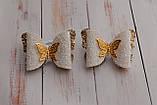 Набор бантиков Okl бело-золотые 2 штук РР 294, фото 2