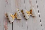 Набор бантиков Okl бело-золотые 2 штук РР 294, фото 3