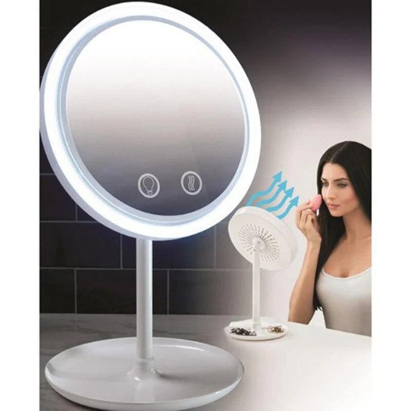 Косметичне дзеркало настільне NuBrilliance Beauty Breeze Mirror з підсвічуванням і вентилятором