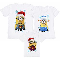 """Семейный комплект футболок """"Новогодние Миньоны"""" (частичная, или полная предоплата)"""
