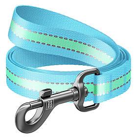 Повідець Waudog Nylon блакитний світлонакопичуючий (ширина-15 мм, довжина 122 см)