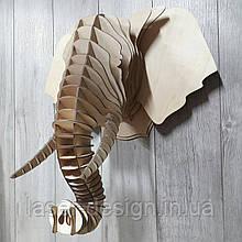 Трофей голова слона, фанера, настенная фигура, сборная 3D модель