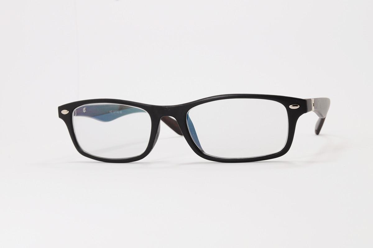 Имиджевые узкие очки. Стеклянная линза с антибликом и тонировкой 10%. Дужки на флекс-системе под дерево