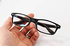Имиджевые узкие очки. Стеклянная линза с антибликом и тонировкой 10%. Дужки на флекс-системе под дерево, фото 2