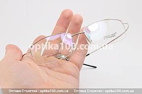 Металлическая лёгкая оправа для очков. Полуободковая с титановыми гибкими дужками, фото 2