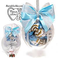 Подарунковий Новорічний куля з цукерками в подарунковому тубусі (цукерки виймаються) діаметр кулі 10см
