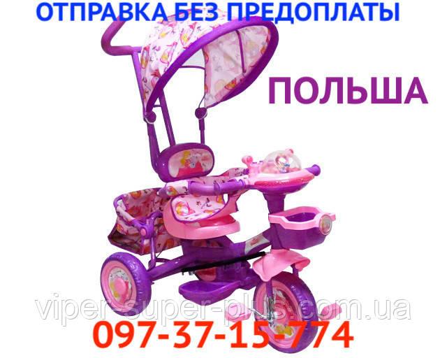 Трехколесный Детский Велосипед с Родительской Ручкой Baby Club 16S Princess Story Принцесса Сиренево-Розовый