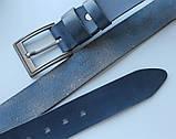 """Кожаный мужской ремень """"Mare"""" синий, фото 3"""