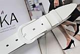 Женский моноцветный кожаный ремень белый, фото 2