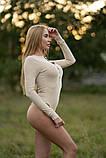 Боди Lameia женское облегающее с длинным рукавом бежевое, фото 3