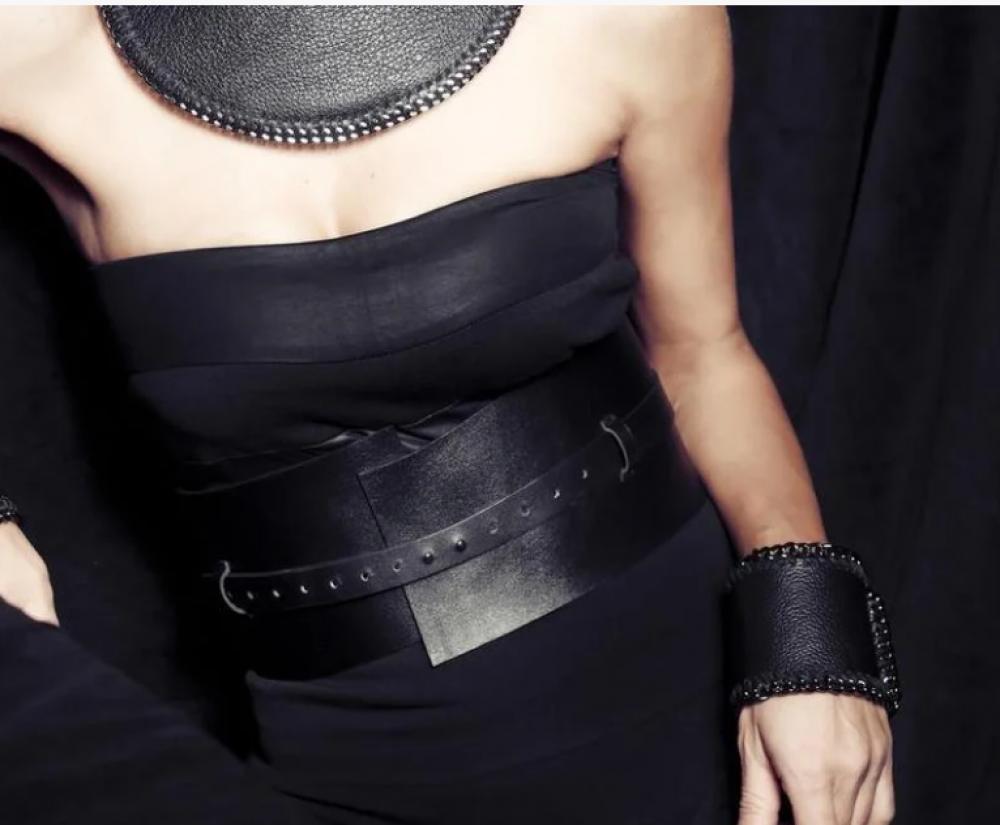 """Женский кожаный пояс-корсет """"Corsetto"""" черный"""