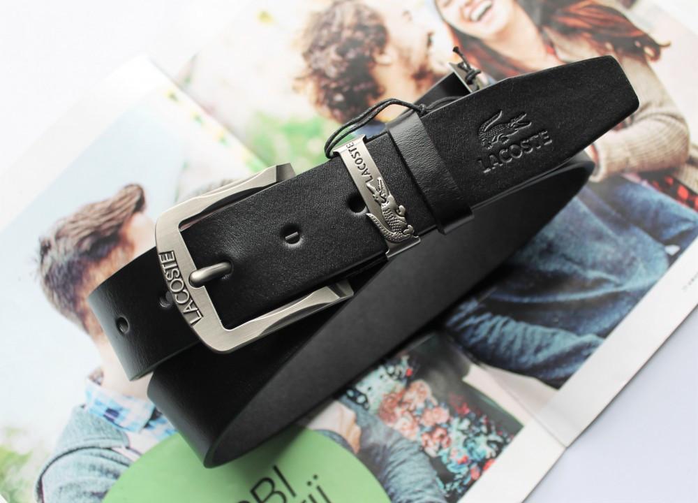 Кожаный ремень Lacoste black