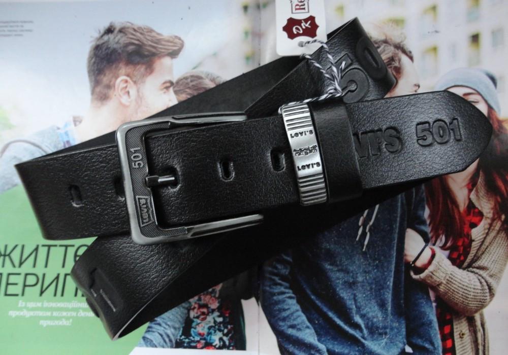 Мужской ремень для джинсов с тиснением Levis черный