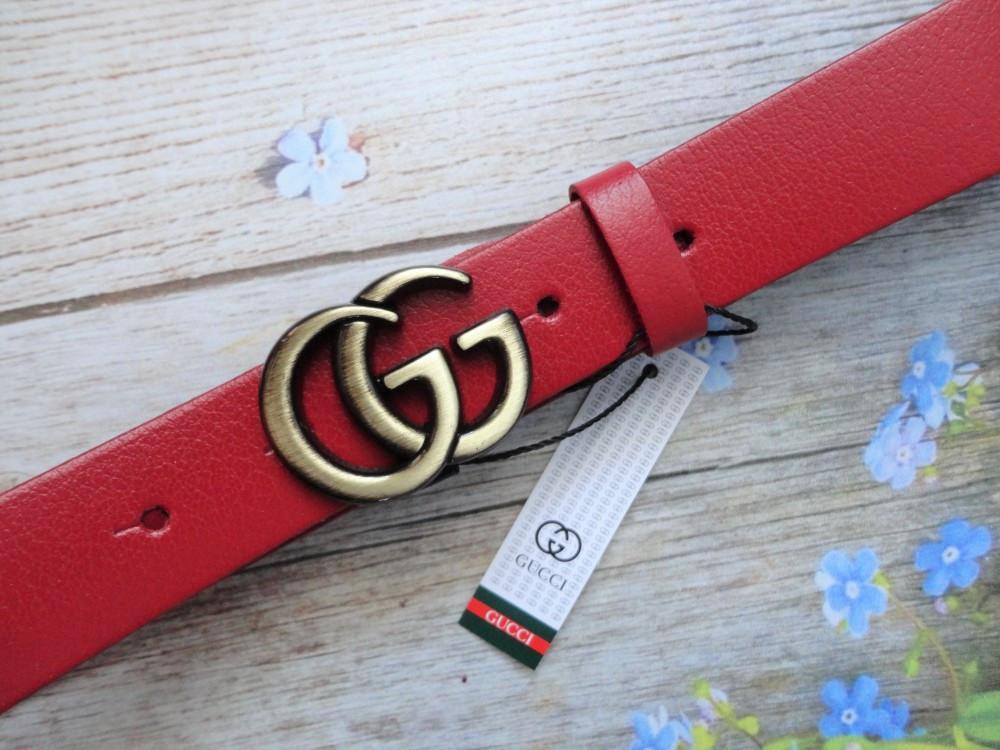 Женский кожаный красный ремень Gucci пряжка бронза