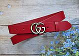 Женский кожаный красный ремень Gucci пряжка бронза, фото 2