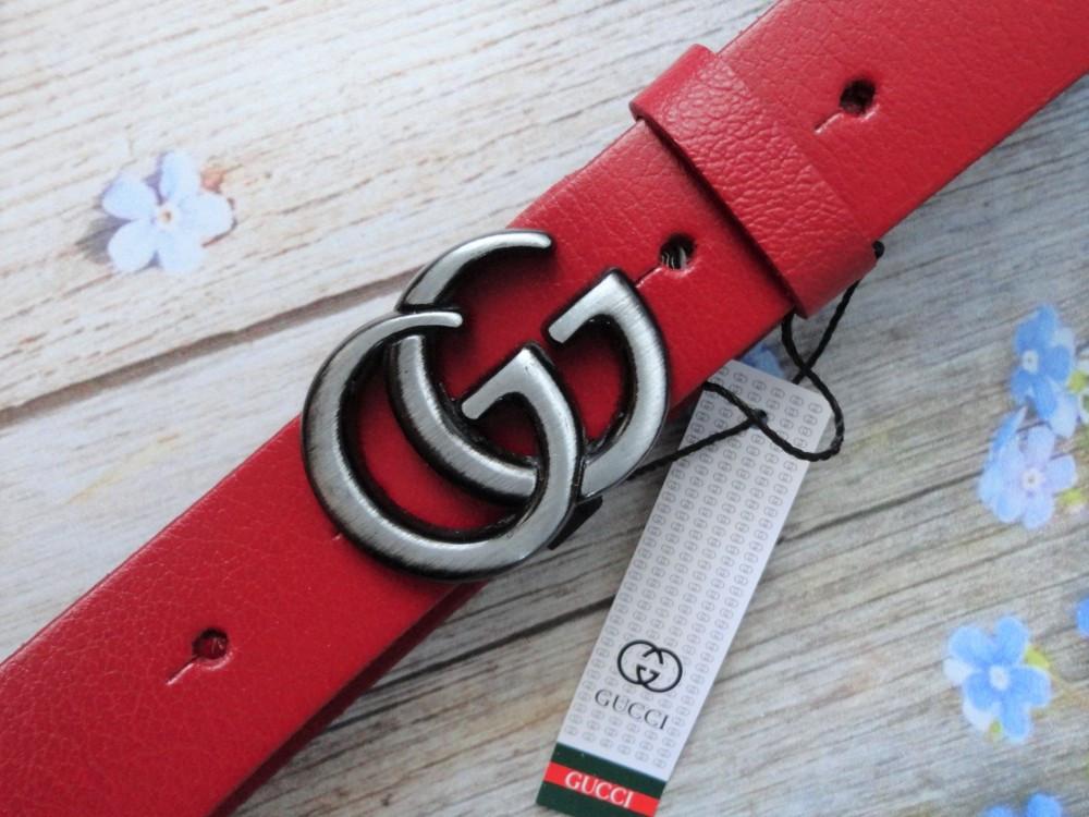 Женский кожаный красный ремень Gucci пряжка хром