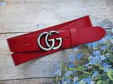 Женский кожаный красный ремень Gucci пряжка хром, фото 2