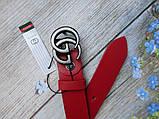 Женский кожаный красный ремень Gucci пряжка хром, фото 3