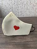 Многоразовая защитная маска со сменным фильтром бежевая мужская сердце, фото 3