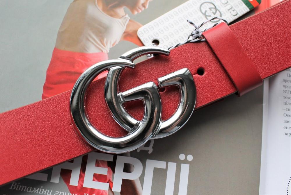 Женский кожаный красный ремень Gucci пряжка серебро