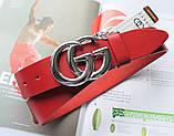 Женский кожаный красный ремень Gucci пряжка серебро, фото 2