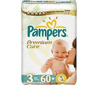 """Памперс""""3"""" Premium Care  (4-9 кг) 60шт"""