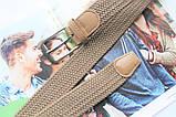 Плетеный ремень резинка унисекс  бежевый, фото 2