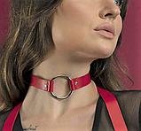 Женский кожаный чокер с кольцом красный, фото 2
