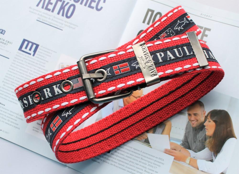 Мужской тканевый ремень Paul&Shark красный
