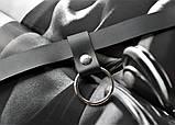 Женский кожаный чокер с кольцом черный, фото 5