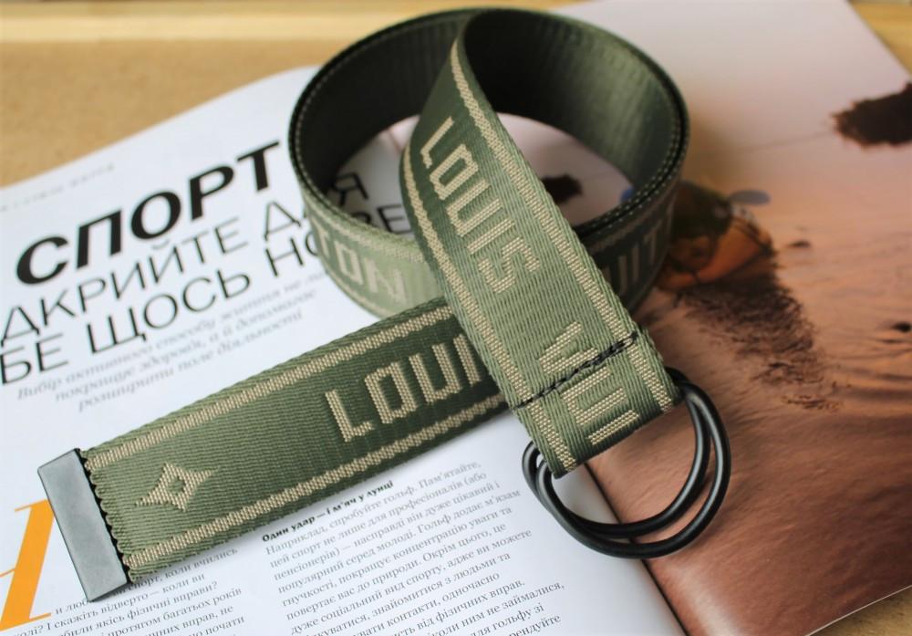 Тренд сезона тканевый ремень Louis Vuitton Хаки