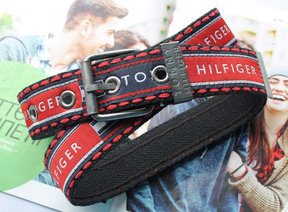 Мужской тканевый ремень Tommy Hilfiger красно-черный