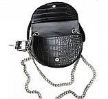 Женская кожаная сумка-ремень Croco Mini Belt Bag черная, фото 2