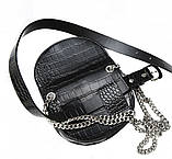 Женская кожаная сумка-ремень Croco Mini Belt Bag черная, фото 4