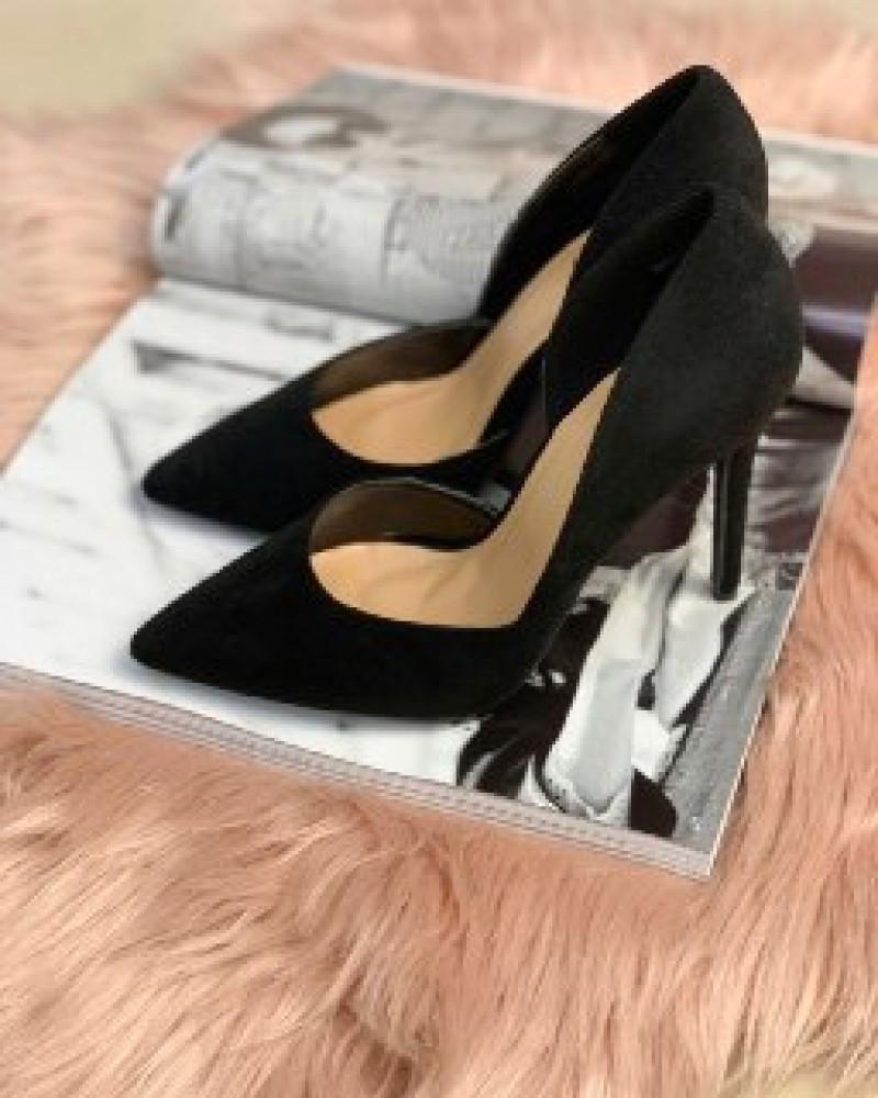Туфли лодочки замш черные