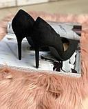 Туфли лодочки замш черные, фото 2