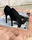 Туфли лодочки замш черные, фото 3