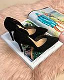 Туфли лодочки замш черные, фото 4