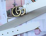 Женский ремень Gucci пряжка бронза белый, фото 2