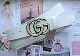 Женский ремень Gucci пряжка бронза белый, фото 3