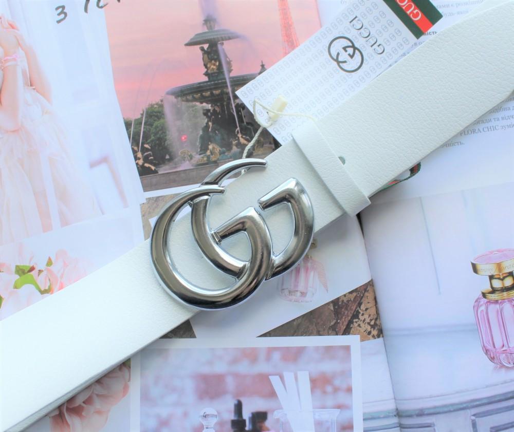 Женский ремень Gucci пряжка серебро белый