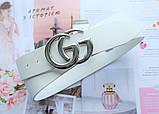 Женский ремень Gucci пряжка серебро белый, фото 2